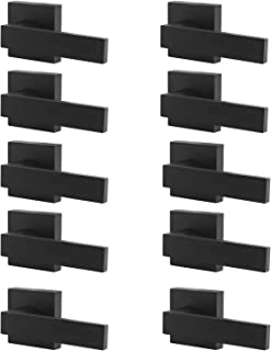 Probrico [Pack of 10]Door Lever Dummy Lever Door Handle for Closets French Doors,Square Dummy Door Lever,Non-Turning Single Side Pull with Black Finish,Easy Installation Pull Only Lever Set