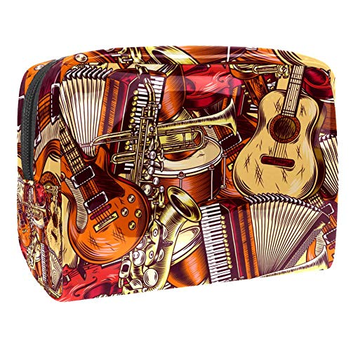 TIZORAX Kosmetiktasche für Gitarre, Akkordeon, PVC, Make-up-Tasche, Reise-Toilettenartikel, praktischer Beutel, Organizer für Frauen