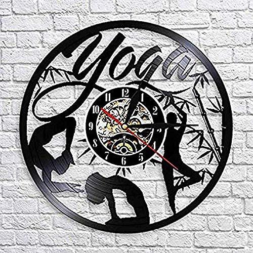 Reloj de pared de vinilo con diseño moderno Yoga S conocimiento Praxis Creativo Cd Reloj de pared cultura de vivienda Silencioso sin LED