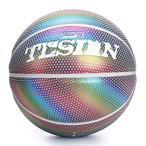 SHENAISHIREN Baloncesto reflectante, ilumina el baloncesto El diseño de apariencia único es adecuado para el uso de entrenamiento en interiores y exteriores para dar a los niños a juguetes de regalo p