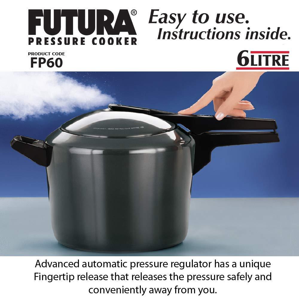 طنجرة ضغط للطهي بالبخارمطلية بطبقة سميكة من أكسيد الألومنيوم من فيوتشرا أسود 6لارج