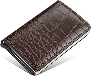 Baeskii PU Leather+Aluminium RFID Credit Card Holder Wallet Ultrathin Metal Card Case for Men and Women Up to Holds 8 card...