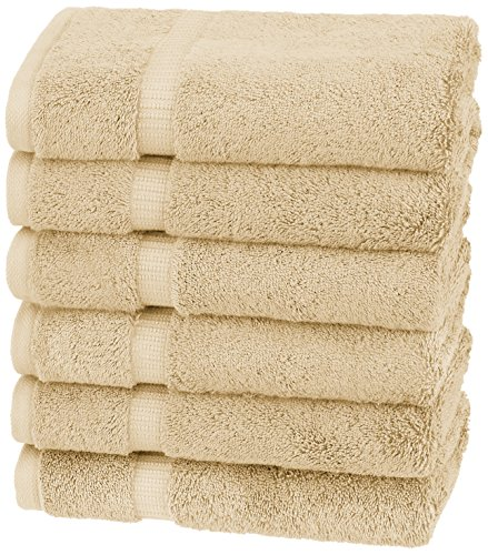 Amazon Brand – Pinzon Organic Cotton Hand Towels, Set of 6, Sand Beige