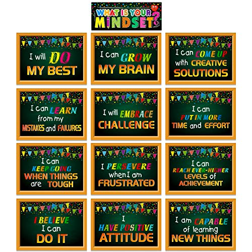 """SICOHOME Motivational Posters for Classroom,13pcs,9""""x 12"""" What is Your Mindset Inspirational Posters for Classroom Bulletin Board Decoration"""
