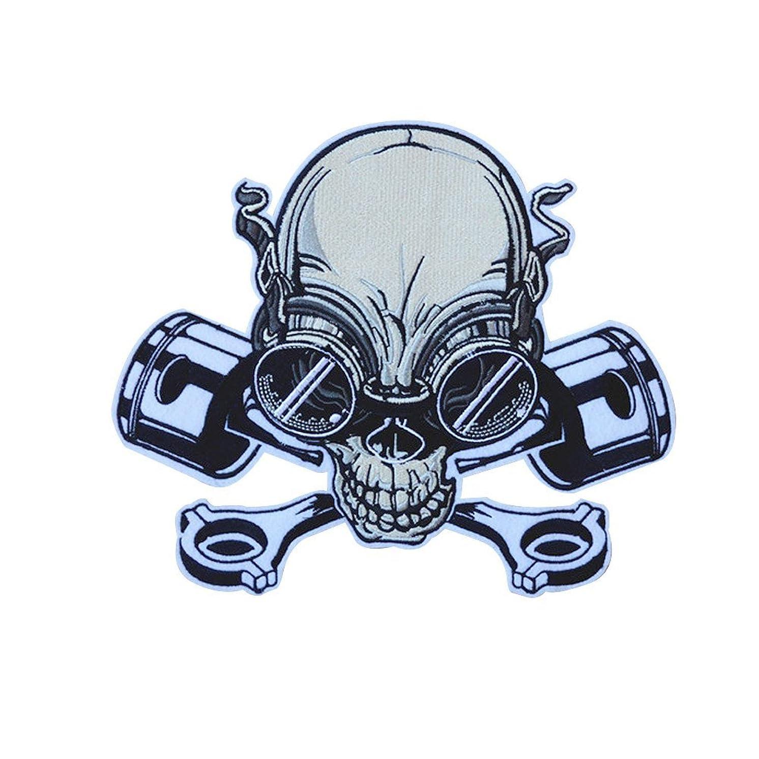 Riverbyland Iron On Biker Patch for Jackets Skull Engine