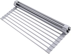 """Roll Up Dish Drying Rack, Ohuhu Over The Sink Multipurpose Roll-Up Dish Racks, 17"""" L x 13"""" W Rolling Heat-Resistant Anti-Slip Silicone Coated Dish Drainer for Kitchen Counter"""