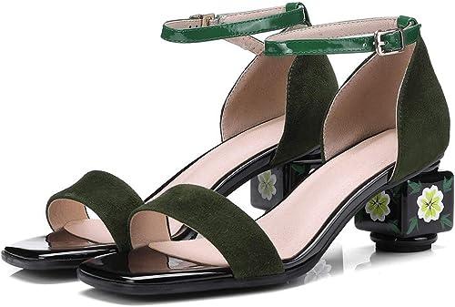 Sandales Boucle Résistant à l'usure Talon épais épais Fleur Chaussures Femme  promotions promotionnelles