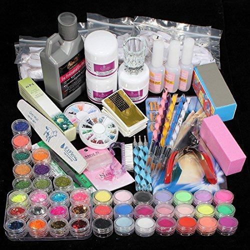 vasyle Juego completo acrílico polvo UV Gel Kit de punta de pincel lámpara de luz UV NAIL ART DIY Kit de manicura con uñas de pato (1)