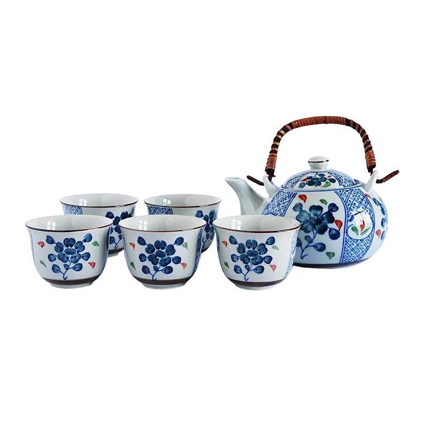 Umeware Best Handmade Japanese Ceramic Tea Set Gift With Teapot And 4 Tea Cups Set For Loose Leaf Tea, Blooming Tea And Tea Bags