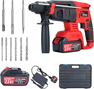 Rotary Hammer Drill, King Showden 21V Cordless Rechargerable Demolition Hammer with 1550RPM, Variable Speed, 3-in-1 Mode B...