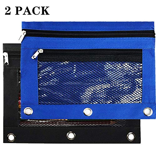 3 Ring Binder Pencil Pouches,2 Pack Pencil Pouch with Zipper-Pencil Case with Double Pocket and Mesh Window (Black/Blue)