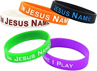 Silicone Sport Fitness Wristbands with Words in Jesus Name I Play for Unisex Adults Teenagers