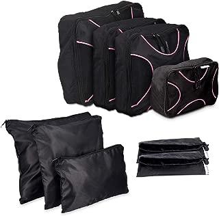 Navaris set de 9 organizadores de maleta - 4x Bolsas de viaje para ropa zapatos - Organizador de equipaje de nylon - Packing cubes negro y rosa