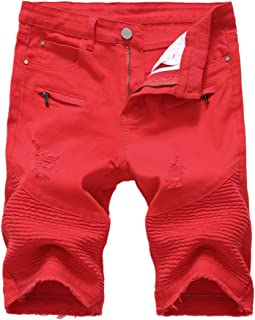 Men's Fashion Summer Ripped Destroyed Distressed Short Jeans Straight Denim Shorts