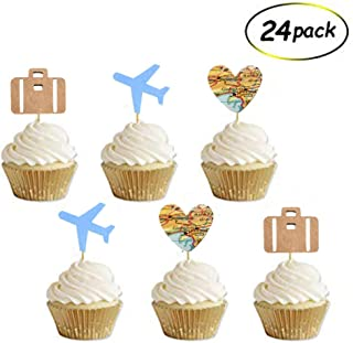 Travel Cupcake Toppers, Airplane, Map, Luggage Adventure Awaits Travel Theme Party Decorations, Retirement Farewell Graduation Wedding Bridal Baby Shower Party Supplies Decorations(24 Pack)