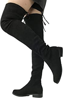 80a3eb9313207 Dormery Thigh High Flat Boots Women Over The Knee Boots Comfort Fall Winter  Faux Suede Boots