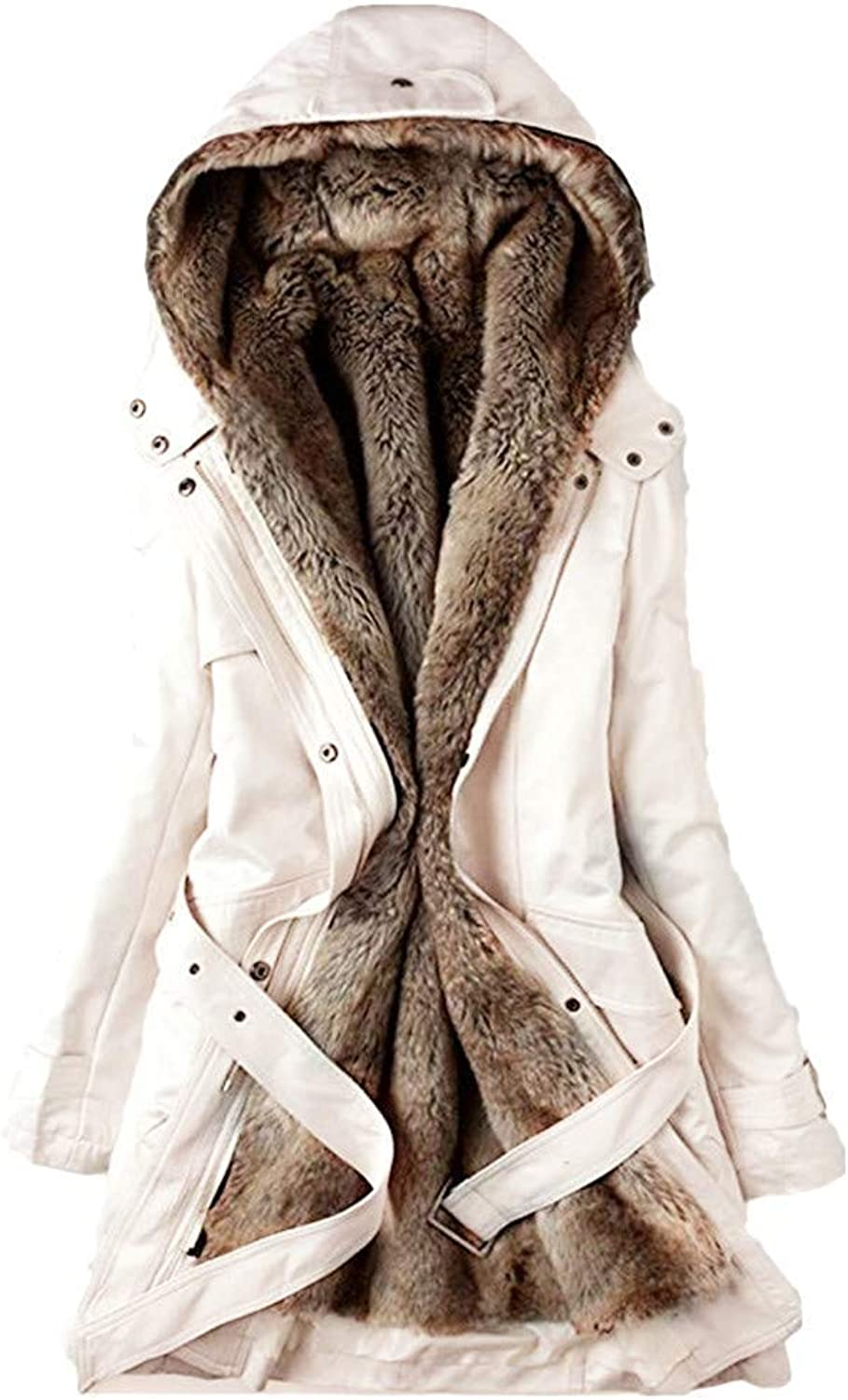 Bon Soir Ladies Winter Warm Thick Long Jacket Fur Lining Coat Womens Hooded Parka Coat