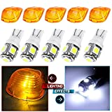 Cab Marker Light 5x T10-5-5050-SMD White Top Clearance Roof Running Bulbs with 5x Amber Cab Roof Light...