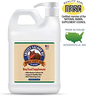 Grizzly All-Natural Wild Caught Alaskan Salmon Oil Dog Food Supplement   Balanced Blend of Omega-3 Fatty Acids   Medical Grade Pump for Exact, No-Spill Dose