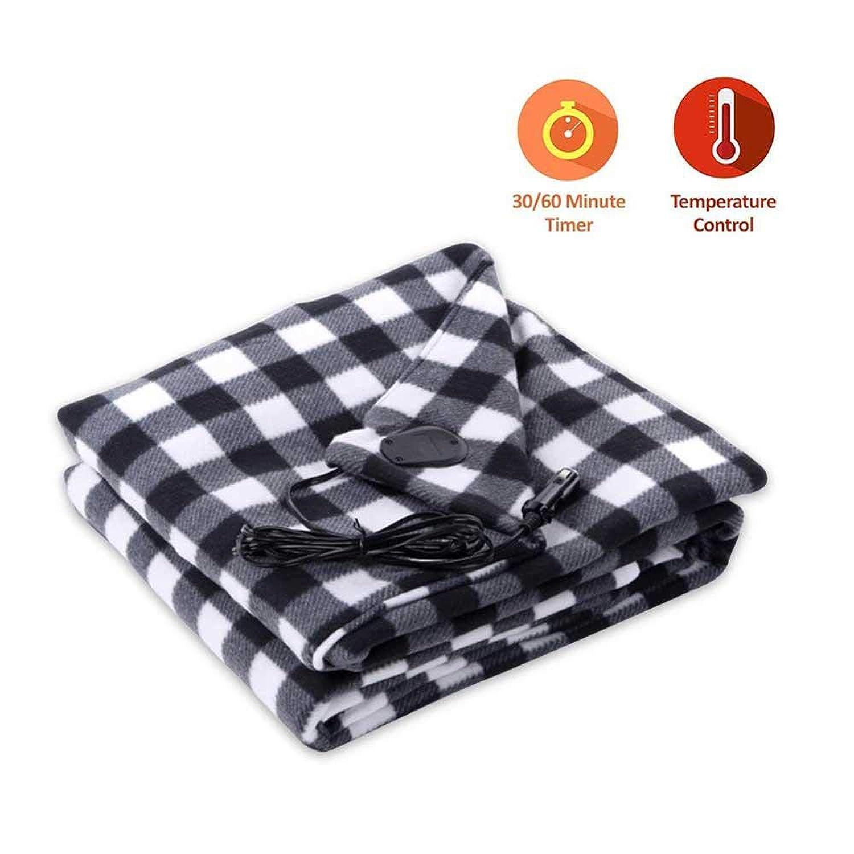 KOBWA Car Cozy 12-Volt Heated Travel Blanket(Red Plaid, 59