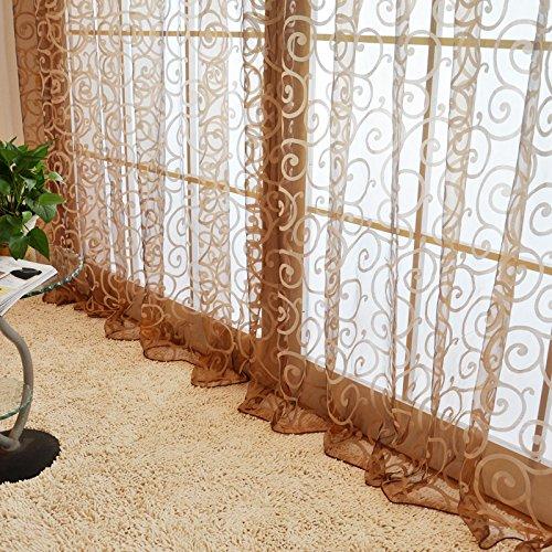 QHGstore Fresh tulle floreale porta sciarpa del voile Mantovane copre le tende di finestra pura, include unica finestra di screening, che non includono le tende Marrone