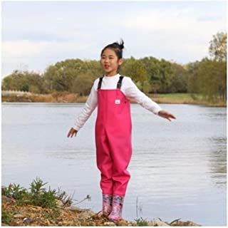 EU 25-36 Kids Waterproof Wader Pants With Rain Boots Outdoor Girl Boy Playing Water Angling Beach Fishing Suspender Trousers