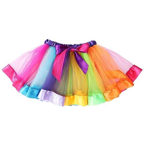 f122cb9e7 LUOEM Girls Rainbow Tutu Skirt Costume Layered Dance Performance Skirt for  Girls 4-6
