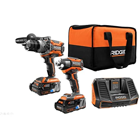 Ridgid 18 Volt Octane Lithium Ion Cordless Brushless Combo Kit With Hammer Drill Impact Driver 2 3 0 Ah Batteries Charger Amazon Com