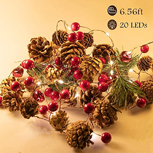 Christmas Garland Lights String 6.7Ft Battery Operated Decorations Light, with Pine Cone Red Berry Jingle Bell 20 LED for Xmas Decor Party Fireplace Door Tree Indoor Outdoor