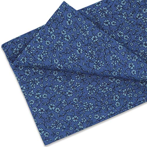 Master FAB -100% Cotton Fabric by The Yard for Sewing DIY Crafting Fashion Design Printed Floral(Spring Flowers Blue)