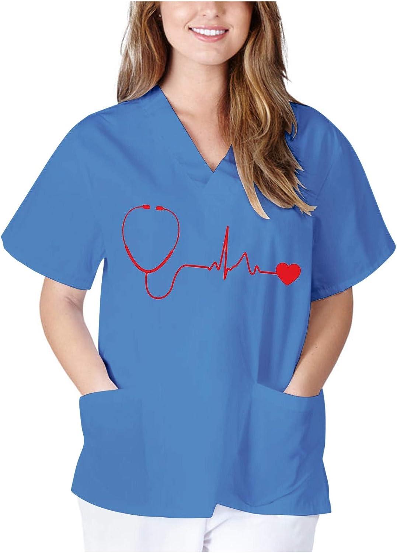 Vneck Shirts for Women Fashion,Scrub_Shirt Short Sleeve Ladies C