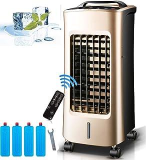 Gjfhome Climatizador Evaporativo, Aire Acondicionado Portátil Ventilador 75 W con Calefactor 2000 W, Humidificador-Ionizador-Enfriador (Temporizador 24 H/5L/3 Modos) Aires Acondicionados Móviles