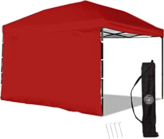 Punchau Pop Up Canopy Tent with Sidewall 10 x 10 Feet, Red - UV Coated, Waterproof Instant Outdoor Gazebo Tent, Bonus Roller Carry Bag