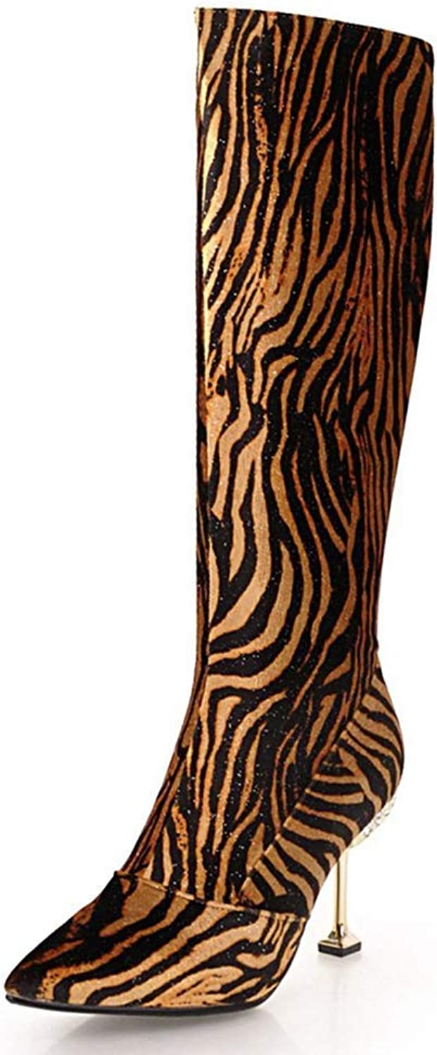 Webb Perkin Women Thick Plush Fashion Warm Party shoes Elegant High Heel Sexy Boot Lady Knee High Boots