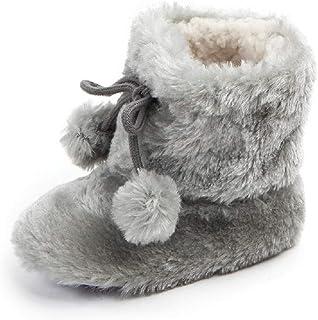 Auxma Botas de Nieve de Suela Blanda para bebés niñas,