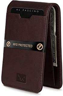AL FASCINO Brown Minimalist Slim Leather Wallet/Purse for Men with RFID Protection