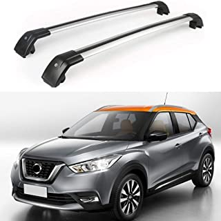 MotorFansClub Roof Rack Rail Aluminum Top Cross Bar Crossbar Baggage for Nissan Kicks 2017 2018 2019 Baggage Luggage Rack(2 PCS)
