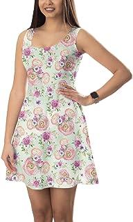 Rainbow Rules Mouwloze uitlopende jurk - Peachy Floral Minnie Ears