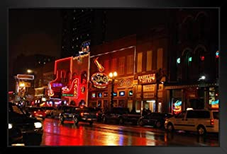 Neon Light of Lower Broadway Nashville Tennessee Photo Black Wood Framed Art Poster 20x14