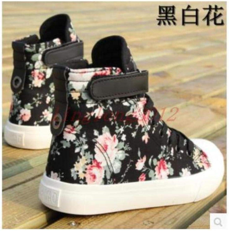 FidgetFidget Womens Canvas Round Floral Printed shoes Casual High Top Lacup Sneakers Boots Black US6   UK4   EUR37   23.5cm
