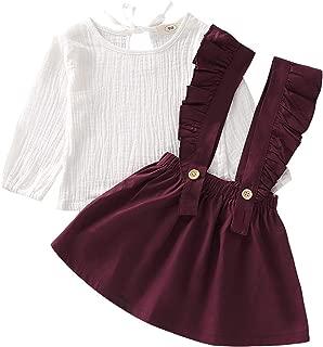 Toddler Baby Girls Thanksgiving Skirt Set Pumpkin Print Long Sleeve Top+Ruffle Suspender Overalls Outfits
