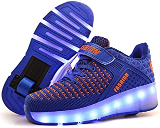 Ylllu Kids LED USB Charging Roller Skate Shoes with Wheel Shoes Light up Roller Shoes Rechargeable Roller Sneakers for Gir...