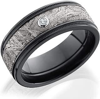 Kobelli Zirconium with Gibeon Meteorite Inlay and Bezel-set Diamond Grooved 8.5mm Flat Band