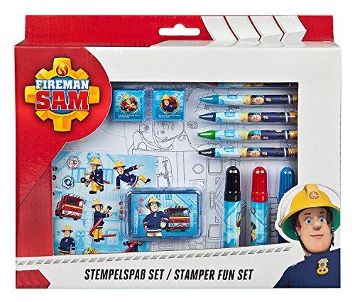 Undercover FSTU3971 - Feuerwehrmann Sam Stempelspaß mit Stempeln, Stempelkissen, Fasermalern, Postern, Stickern und Kreiden, 26 teilig