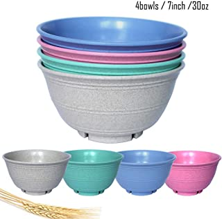 OWXINI Super Cereal/Snack/Soup Bowls,7 inch,30 oz,Set of 4,Wheat Straw Fiber, Dishwasher & Microwave SafeEco-Friendly,Lightweight (4 pcs, 4 Color)