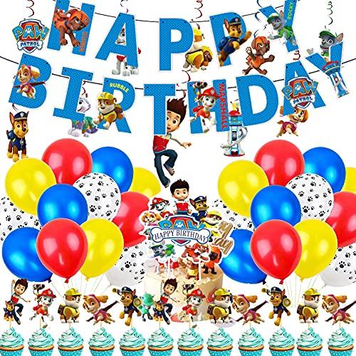 Paw Dog Patrol Palloncini, Paw Dog Patrol Birthday Decoration Set per Feste di Compleanno Cupcake Decor Palloncini Decorazione Compleanno per Bambini Feste di Compleanno (Blu)