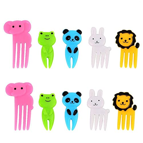 AIEX Cute Bento Decoration Box, Animals Food Picks and Forks Baby Food Picks Fruit Picks for Kids (Pack of 10)