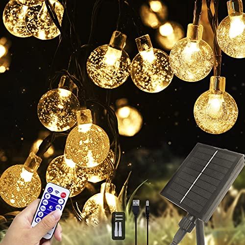 Solar Lichterkette Aussen mit Fernbedienung, 7M 50LED 8 Modi Solar Kristall Kugeln Wasserdicht IP65 USB Lichterkette Außen Solar für weihnachtsbaum lichterkette Garten, Bäume, Hochzeiten, Außer/Innen