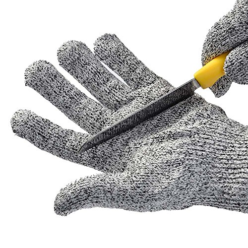 Idealeben 1 Paar Schnittsichere Handschuhe für Kinder – HPPE Level 5 Schutz, EN-388 Zertifiziert, Lebensmittelecht. Kinder Handschuhe für Gartenbau, Messer zu schärfen,Holz zu schnitzen (5-8 Jährige)