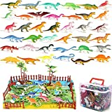 Realistic Dinosaur Figures, Educational Realistic Dinosaur Playset to. Trees,Rockery to Create a Dino World Including T-Rex,Triceratops,for Kids,Boys-Girls.Storage Box-for Kids Age 3 to 8
